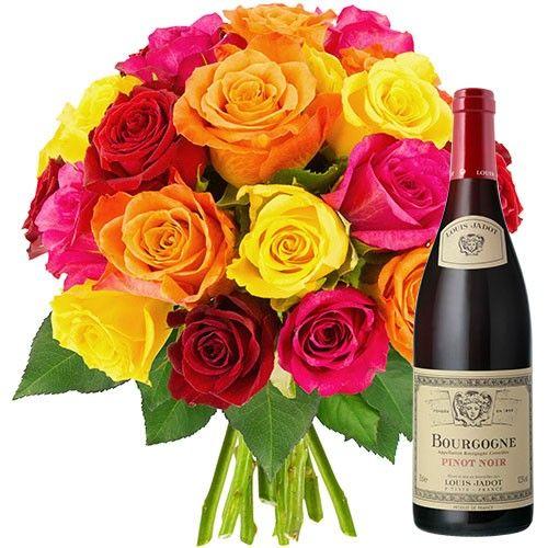 Cadeaux Gourmands 20 ROSES MULTICOLORES + VIN DE BOURGOGNE