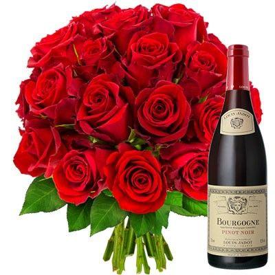 Cadeaux Gourmands 20 ROSES ROUGES + VIN DE BOURGOGNE