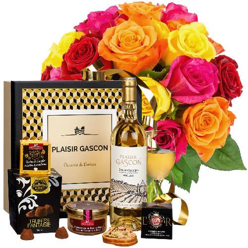 Cadeaux Gourmands 20 ROSES MULTICOLORES + COFFRET PLAISIR GASCON