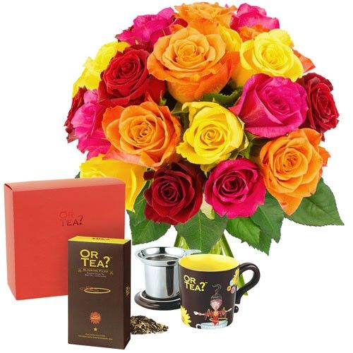 Cadeaux Gourmands 20 ROSES MULTICOLORES + PACK SPECIAL THE