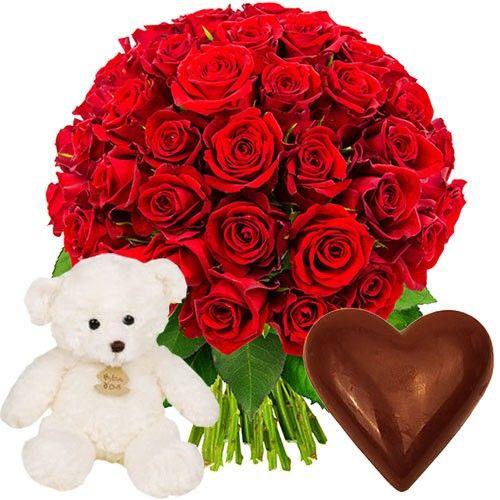 cadeaux gourmands 50 roses ourson coeur en chocolat livraison express florajet. Black Bedroom Furniture Sets. Home Design Ideas