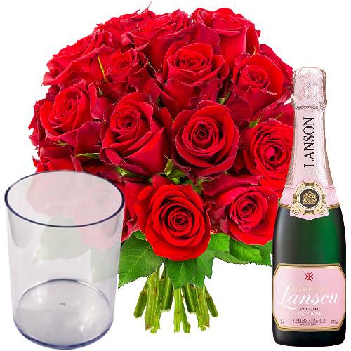 Cadeaux Gourmands 20 ROSES ROUGES + 1/2 CHAMPAGNE + VASE