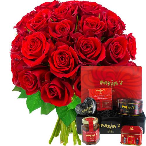 Cadeaux Gourmands 30 ROSES ROUGES + COFFRET FARANDOLE