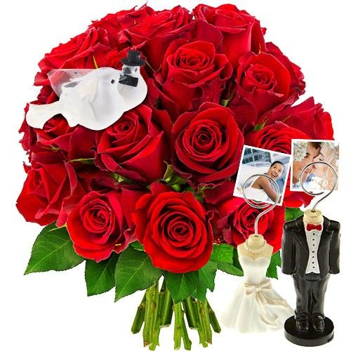 Cadeaux insolites 20 ROSES + INSEPARABLES + 2 PICS PHOTOS