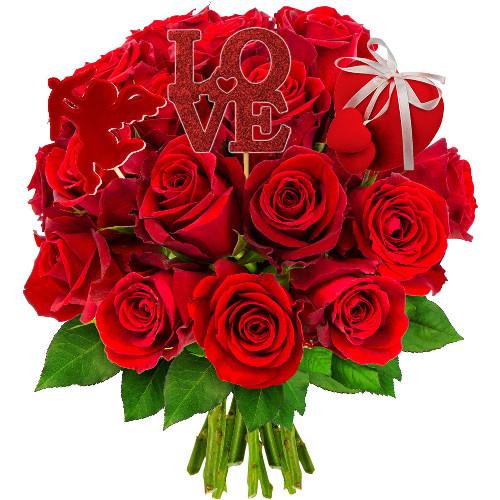 Cadeaux insolites 20 ROSES ROUGES + 3 PICS ST VALENTIN