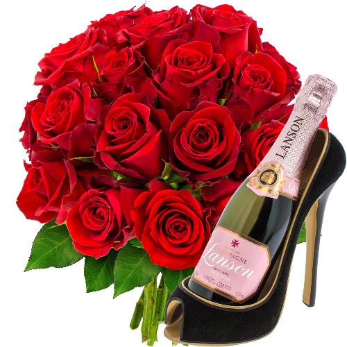 Cadeaux Gourmands 20 ROSES ROUGES + 1/2 LANSON + PORTE-BOUTEILLE