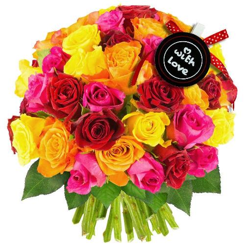 Cadeaux insolites 50 ROSES MULTICOLORES + PINCE LOVE