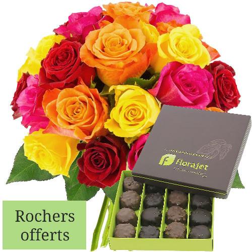 Cadeaux Gourmands 20 ROSES MULTICOLORES + ROCHERS