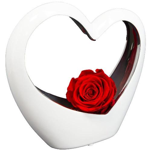Bouquet de roses COEUR BLANC EN CERAMIQUE ET SA ROSE ROUGE