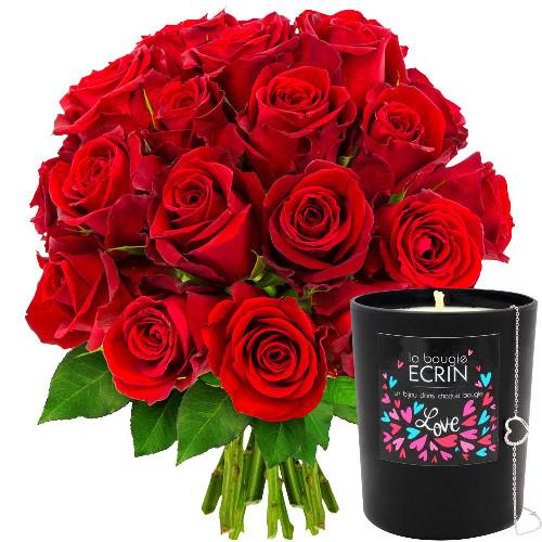 Cadeaux Bien-Etre 20 ROSES ROUGES + BOUGIE-BIJOU LOVE