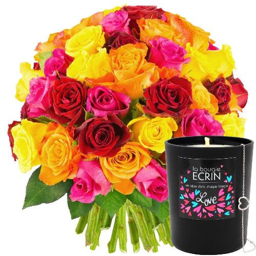 Cadeaux Bien-Etre 50 ROSES MULTICOLORES + BOUGIE-BIJOU LOVE