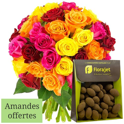 Cadeaux Gourmands 40 ROSES MULTICOLORES + AMANDES CACAOTEES 150GR