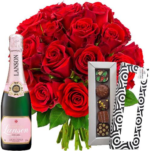 Cadeaux Gourmands 20 ROSES ROUGES + 1/2 LANSON ROSE + ETUI 5 CHOCOLA
