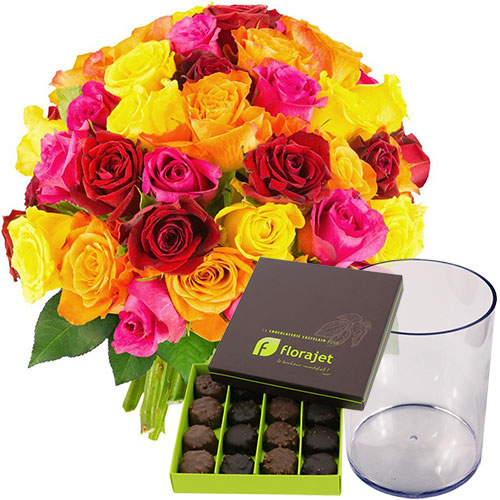 Bons plans 50 ROSES MULTICOLORES + VASE + ROCHERS