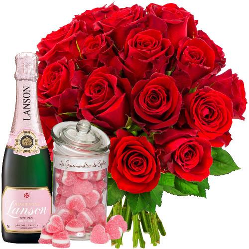 Cadeaux Gourmands 20 ROSES ROUGES + 1/2 LANSON + MINICOEURS