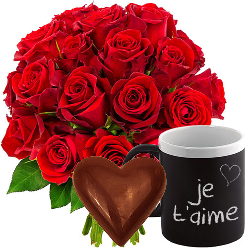 Cadeaux Gourmands 20 ROSES ROUGES + MUG + COEUR CHOCO