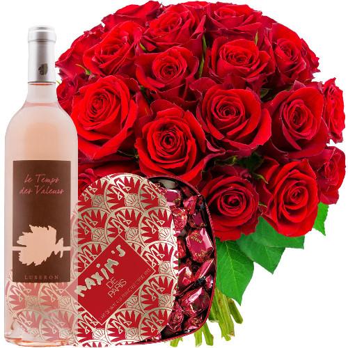 Cadeaux Gourmands 30 ROSES ROUGES + ROSE TEMPS DES SAGES + COEUR MAX