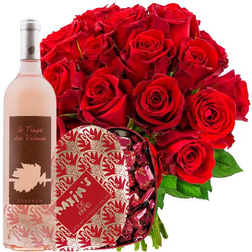 Cadeaux Gourmands 20 ROSES ROUGES + ROSE TEMPS DES SAGES + COEUR MAX