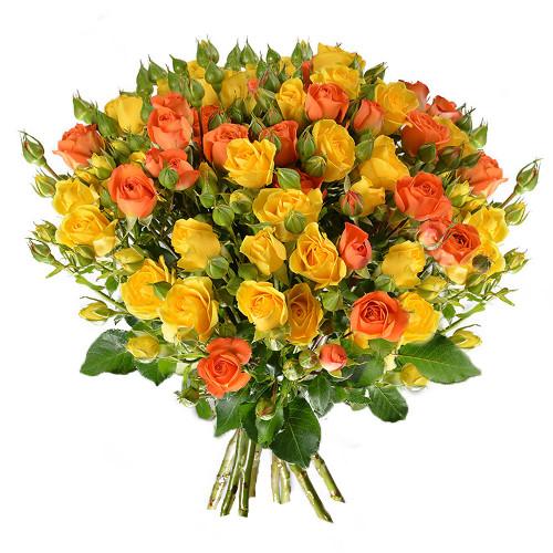 Bouquet de roses ROSES BRANCHUES JAUNE ORANGE