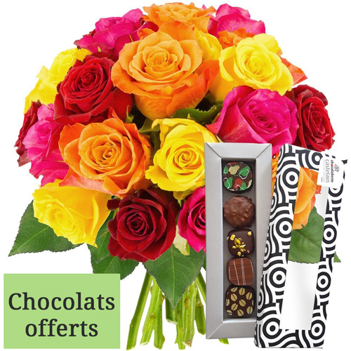 Cadeaux Gourmands 20 ROSES MIX + 5 CHOCOLATS
