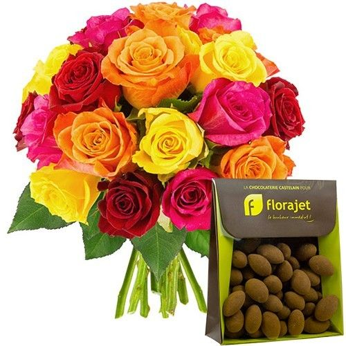 Cadeaux Gourmands 20 ROSES MIX + AMANDES CACAOTEES