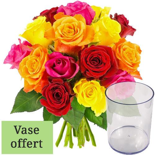 Cadeaux insolites 15 ROSES MIX + VASE