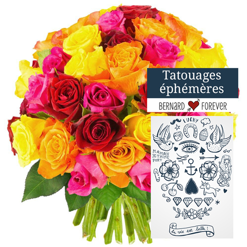 Bouquet de roses 50 ROSES MULTICOLORES + TATOUAGE
