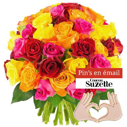 Bouquet de roses 50 ROSES MULTICOLORES + PINS