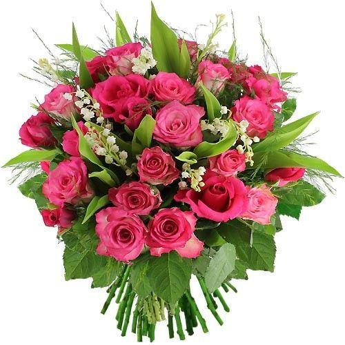 Bouquet rond 30 roses roses muguet livraison express florajet - Photos de bouquet de muguet ...