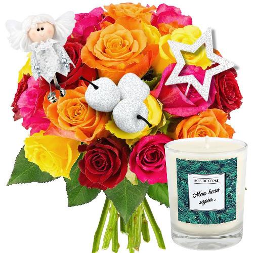 Cadeaux Bien-Etre 20 ROSES MULTICOLORES + 3 PICS BLANC NACRE + BOUGI