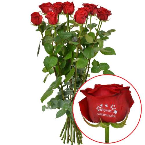Roses marquées 11 + 1 ROSE MARQUEE ANNIV 60CM