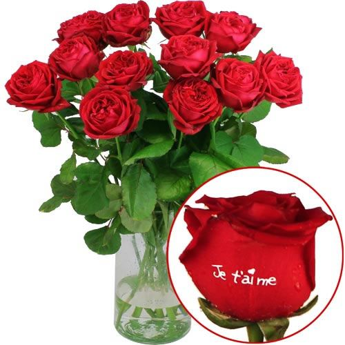 Roses Marquees 12 Roses Je Taime 50cm Ourson Livraison Express