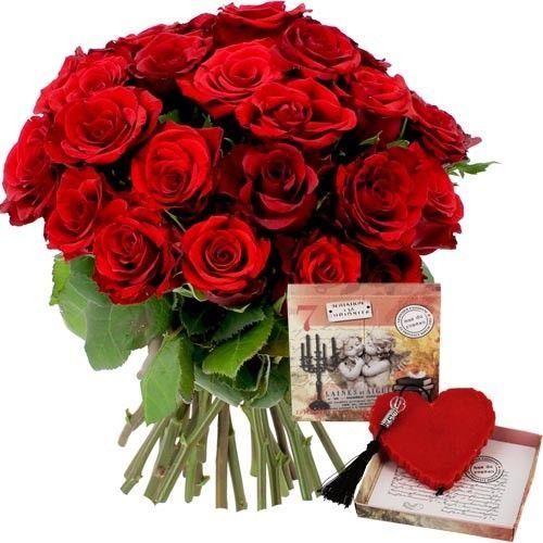 Bouquet De Roses 20 Roses Rouges Savon Coeur Livraison Express