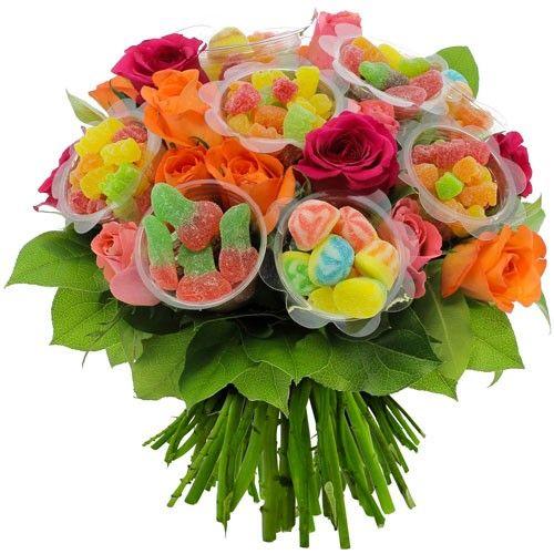 20 Roses Multicolores 10 Bonbons Varies Florajetcom